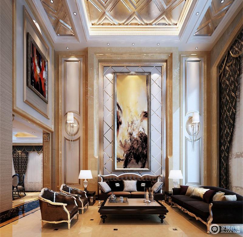 挑高的客厅整体格调高雅,天花板和沙发墙及深咖印花窗帘上,大量菱形网格几何线条,精细刻画出空间的大气华贵;装饰手法上的对称表现,让空间又充满了和谐庄重;背景墙同垭口上的装饰画,点缀出艺术格调。