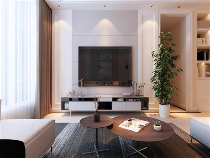 客厅整体颜色主要以灰色为主,褐色加以点缀,使得空间层次分明。