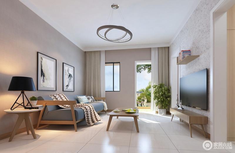 柔和的冰川灰作为沙发墙烘托着灰蓝色木质布艺沙发,随意搭配的盖毯与靠包上的几何纹理,使空间多了北欧风情,并与墙上水墨画作形成碰撞;极具造型感的吊灯,为空间点缀出几分设计质感。
