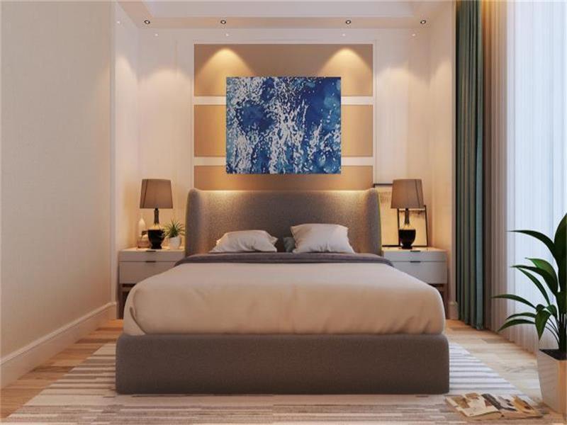 卧室是使人身心放松的一个场所,整体采用米色,温和的颜色使人舒适度更棒,更有益于睡眠质量