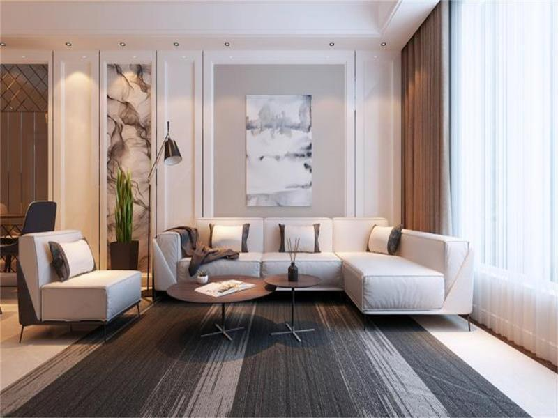 客厅照片墙以灰色为主的水墨画与电视背景墙整体相呼应,给人一种完整的效果体现