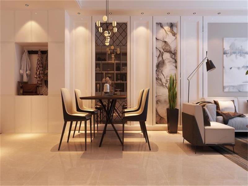 餐厅采用了玻璃,镜面感的设计使空间看起来扩大化,舒适度加强