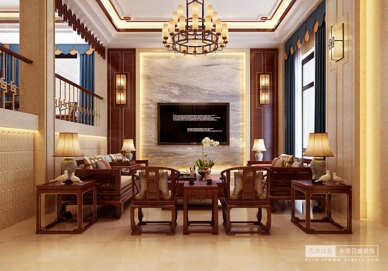 客厅大理石的背景墙,结合中式家居,