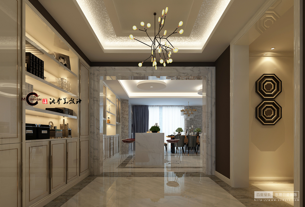 乳白色的墙面搭配淡黄的灯光,使空间一下子就温暖起来