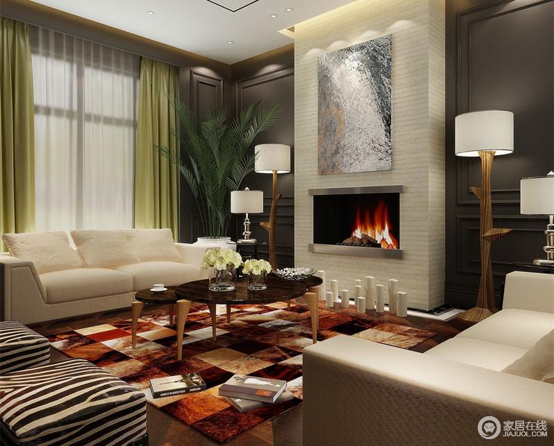 玄關區的地拼与规则的空间布局是迎宾的空間焦點,过厅以華麗旋轉梯闊大視野格局迎接來客,客廳擺設搭配国际一线家居品牌--芬迪与复古条纹砖壁炉有現给空间一个完美的转身。
