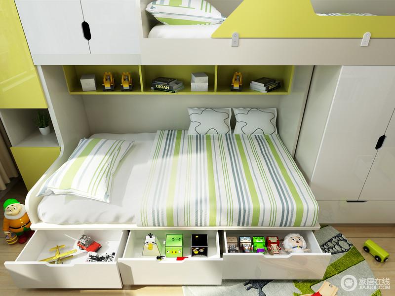 床箱抽屉+梯柜与储物抽屉让孩子的零碎杂物都能分类收纳,不仅可能实现更佳布局,还可享受更多的乐趣。