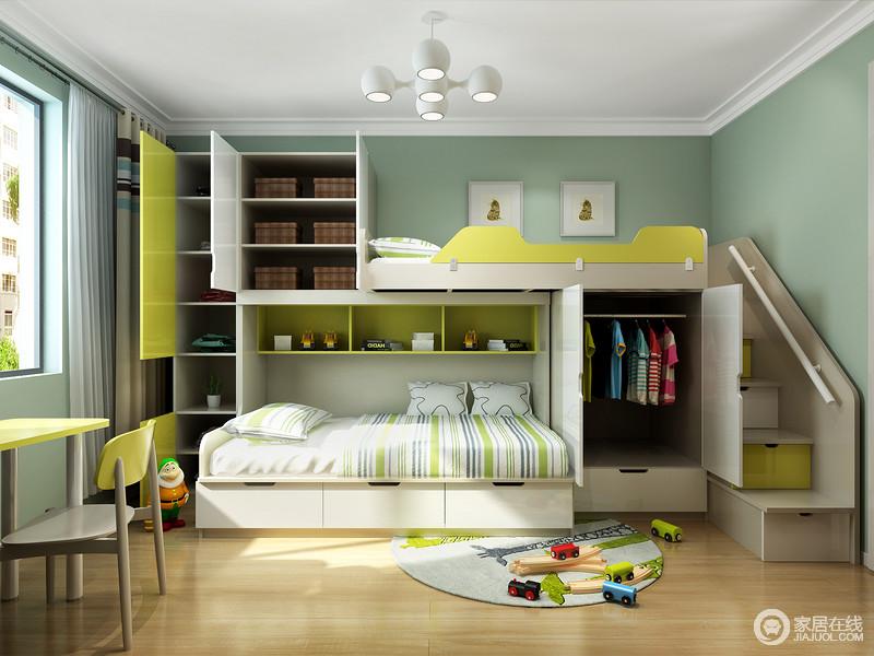 小空间中要放下两张同样大小的床也许比较困难,选择这种错位的高底床是不错的选择,错位开来的空间完美变成了衣物的收纳间,高度适宜,功能齐全,颇为舒适和温馨。
