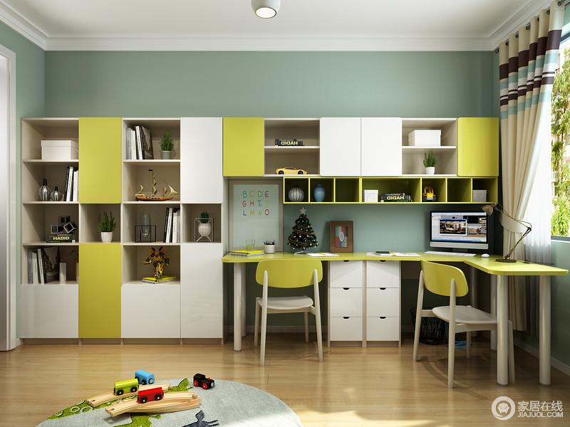 简单利落的整体书柜设计以白与青柠色为组合,这样的配色让空间青春洋溢,充满活力的;还留出了一整面墙的空间留作用学习区,功能齐全合理分配却并不显得拥挤。
