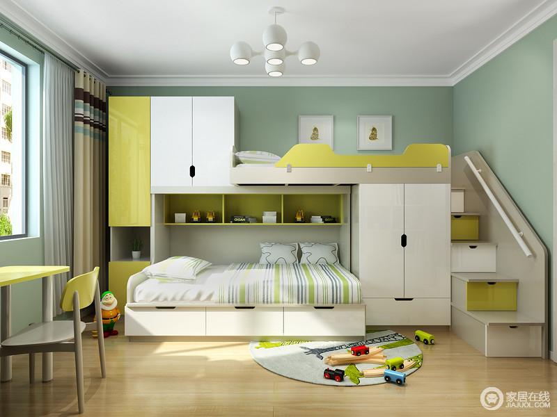 对于能拥有双胞胎的家庭来说,父母给予两个孩子必然是同样的爱,儿童房也不例外,通过定制得柜式双层床满足两个孩子的生活与学习之用,再加上豆绿色的漆来粉刷墙面,带来一种清新和悦。