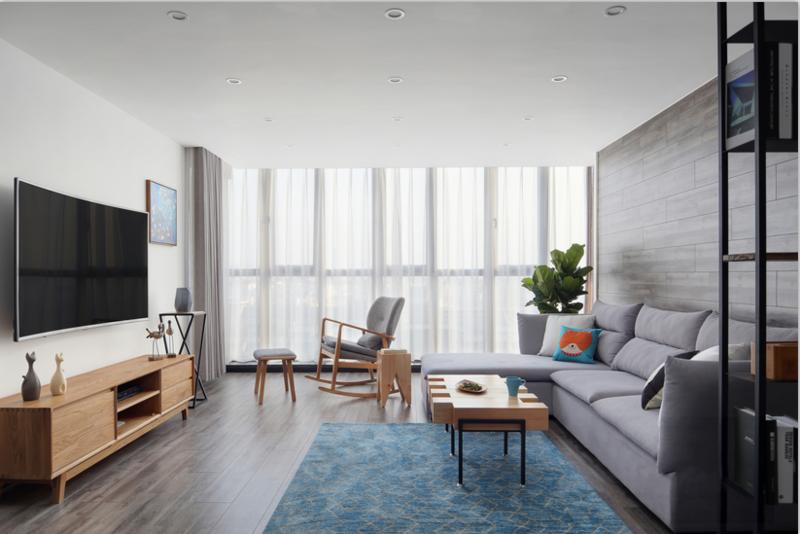 沙发背景墙采用的是木地板