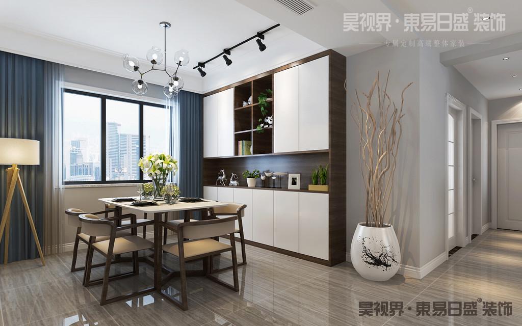 餐厅木质餐椅自然又舒适,以白色主色调,在视觉上,有着极强的平衡感。吊灯的巧妙搭配,使整个餐厅浸润在温馨的氛围之中。