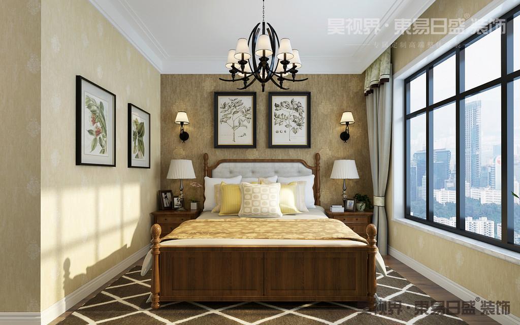 卧室同样保持轻松自然的舒适氛围,配色简洁素雅,色调沉稳宁静。床头挂画是点睛之笔。