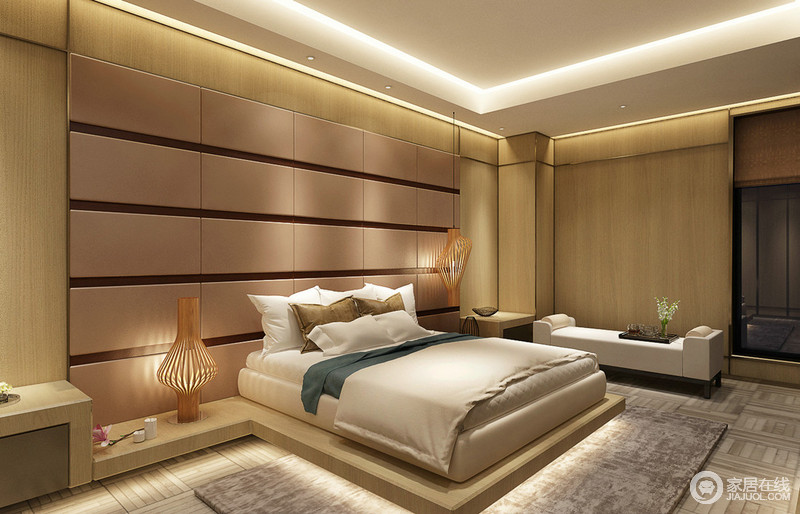 卧室创意且巧妙的将木质以面和线铺陈、穿插,将背景墙与地板隔层及双人床相连,呈现一个凸字结构;一吊一落的竹制灯饰,渲染出禅寂韵味;而方形条状硬包装饰,则体现出现代时尚。