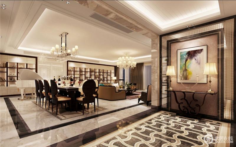 开放式餐厅与客厅相连,配色统一而成片相连,均使用咖啡色系铺染,多人长方餐桌使空间具有一丝欧美气息,摆件挂画抽象存在,地板略带镜面感,整个时尚现代气息扑面而来。