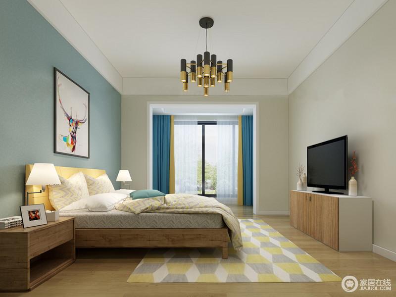 卧室以浅蓝色和乳灰色为对称,以面状的设计奠定空间的层次;北欧家具实用舒适,带着简单的温馨更显生活应该此为本;多色组成的几何地毯点缀出清暖,与床品的几何纹应和出简朴。