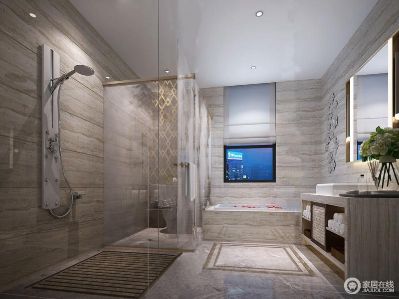卫浴间以灰色木纹砖石装裱着空间,设计师通过简洁大理石盥洗台来彰显现代设计;并通过玻璃房明确空间功能,干湿分区也更为人性化;回字纹装饰地面简单个性,与墙面的花卉装饰雕琢出自然气息。