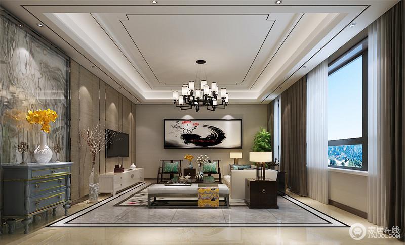 大面积玻璃窗带入明朗光线,现代质感的空间与雅致中式家具结合,彰显出古韵新生且端正稳健的新中式魅力;丰富的材质上线条的层次演绎,跳跃的湖水蓝和贵族黄印花的点缀,构筑一室风雅逸情。