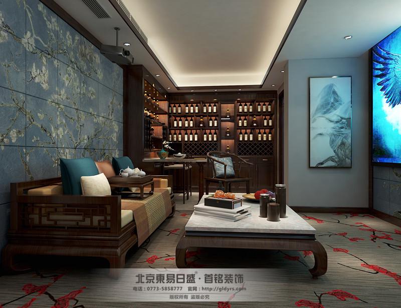 地下室墙面用淡蓝色背景墙,而旁边酒柜是用褐色的木质,整体既简洁又典雅。