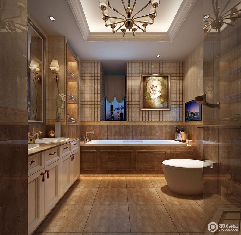 卫浴空间采用复古暖色调打造,小窗墙面拼接装饰了马赛克砖,制造视觉上的丰富感;为了避免空间的色调太过古旧,盥洗台采用白色橱柜与马桶加以色调平衡;茶色玻璃利用角落区域,隔离出淋浴区。