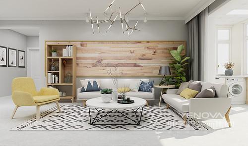 客厅的设计一再作精细化,力求给主人打造一个舒适、简温的家,原木拼接版画在绿植的陪衬中,多了自然的淳朴和清雅;浅灰色沙发搭配圆几在黑白几何地毯的反衬中,多了北欧时尚。