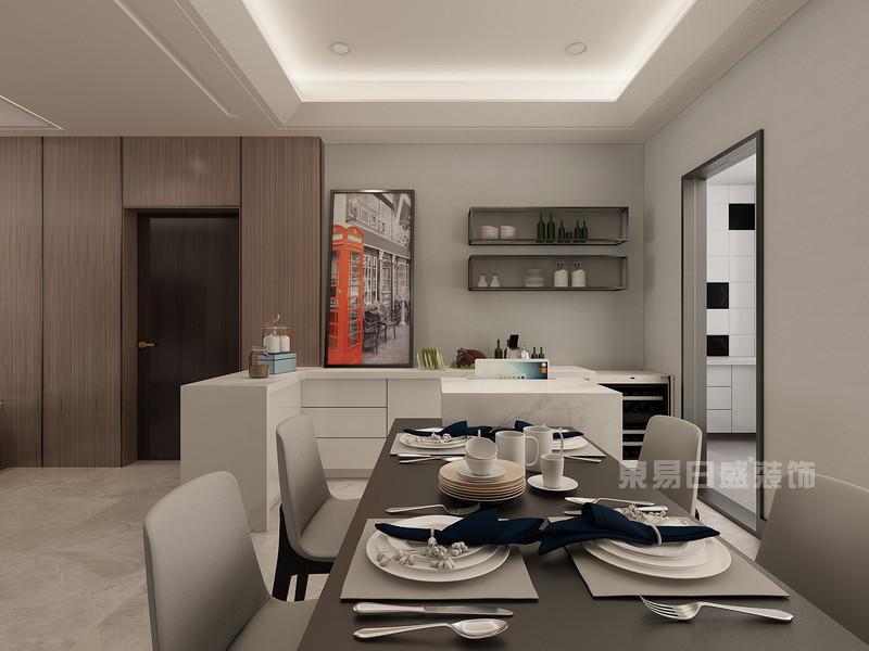 桂林彰泰•睿城三居室152㎡现代简约风格:厨餐厅装修设计效果图