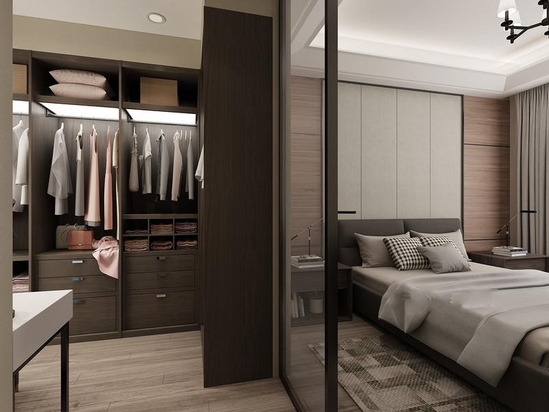 桂林彰泰•睿城三居室152㎡现代简约风格:卧室装修设计效果图