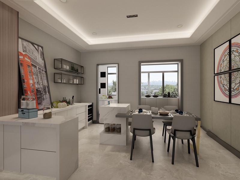 桂林彰泰•睿城三居室152㎡现代简约风格:厨房餐厅装修设计效果图