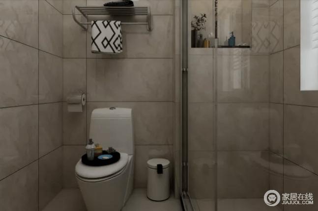 卫生间干湿分离设计,满足洗漱的同时不影响其他功能的使用,墙面凸出是为了考虑储功能及淋浴房的处理!砖色的暗沉带给空间一种稳重,