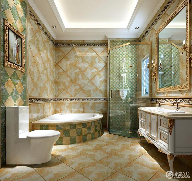 卫生间里方砖的花样铺贴,搭配着马赛克砖墙的营造,空间有着丰富的视觉感受;靠窗打造的玻璃淋浴间,利于湿热空气散发,及干湿的分离,同时也保证光线的清透;雕花镶饰的盥洗台、浴室镜及装饰画,透着华贵质感。