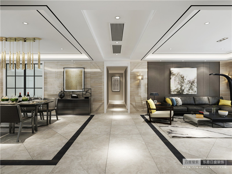 虽然客餐开放式的格局尤为开阔,但是通过吊顶和几何图形的地面更好地区分了生活区域性,功能分明;不管是餐厅,还是走廊,以色彩不同的抽象挂画装饰出现代精致,而橱柜上黑色的陶艺品和摆设点缀出现代质感。