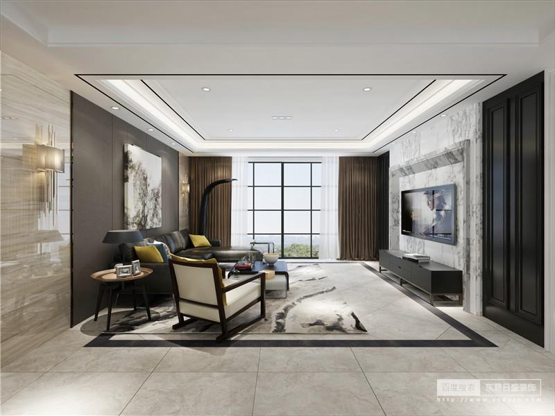 客厅结构方正,上顶下地的矩形设计让空间多了立体感,再加上抽象的地毯带来创意与时尚,为生活注入了新鲜感;深灰色背景墙上的自然画作和白灰色大理石电视背景墙对称出自然之美,与黑色沙发及新颖的桌几给你现代别致。