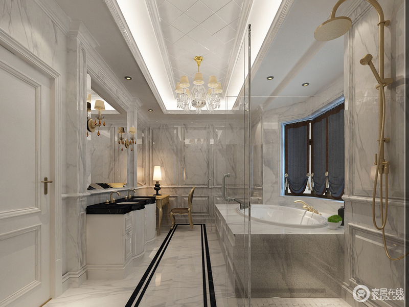 卫生间以灯带和欧式吊灯妆点菱形吊顶,暖光之色中更显璀璨;灰色大理石墙以几何造型和古典建筑造型的盥洗区呈法式典雅,硬朗之中多了复古柔雅;黑白盥洗柜在金色五金件的装饰中更显华丽,而地面的黑色矩形条装饰出动静的效果,让干湿分区的设计带来豪华般的体验。