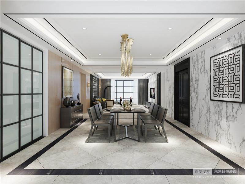 餐厅在石膏吊顶的基础上,利用木条装饰,呈现整洁的线性之美,并与灰色地砖、黑色砖框对称出几何美学;灰白色墙面的肌理成为空间的一大特色,而黑色线条抽象挂画犹显个性,灰色家具组合因为香槟金吊灯更富奢华。