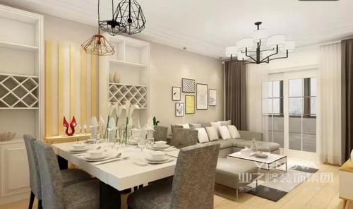 现代风格以功能为主,不管是收纳柜还是餐盘无不显示一种生活态度,而铁艺吊灯无形中增加了现代派钢结构带来的精致。