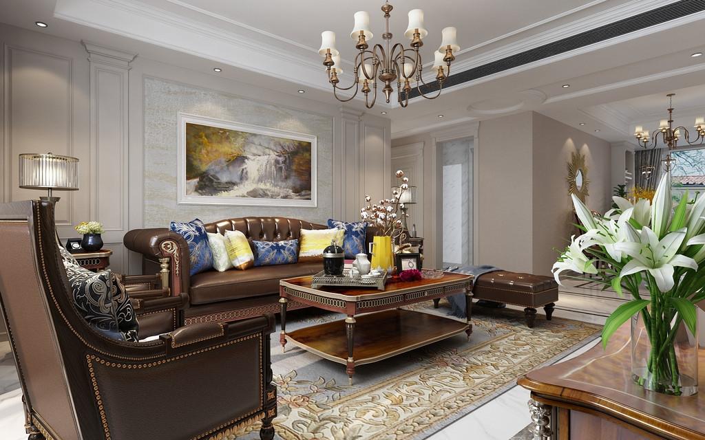 客厅大气奢华!美式沙发显得很是高贵。