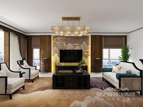 客厅环窗设计让空间的采光好,借原木板材来包裹墙面,搭配灰褐色的窗帘,看似冷调,却稳重中内涵温馨;山岚背景墙因为黄色灯带更多了份中式温暖,搭配地毯,让空间更富中式气势;中式博古架等家具,既起到装饰性,也与黑檀木家具、沙发,让主人在休息的时候也能感受到文化的熏陶。