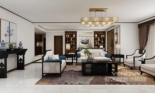 客厅延续门厅的胡桃木主色调,设计中将现代元素和中国传统元素相结合,体现了中国式的古典之美,家具的选配以简洁直线为主展现了新中式讲究的凝练和优雅;白色沙发搭配黑檀木茶几、岸几等张扬抽象之美,地毯的褐黄色调和空间之外,更带来一种温情
