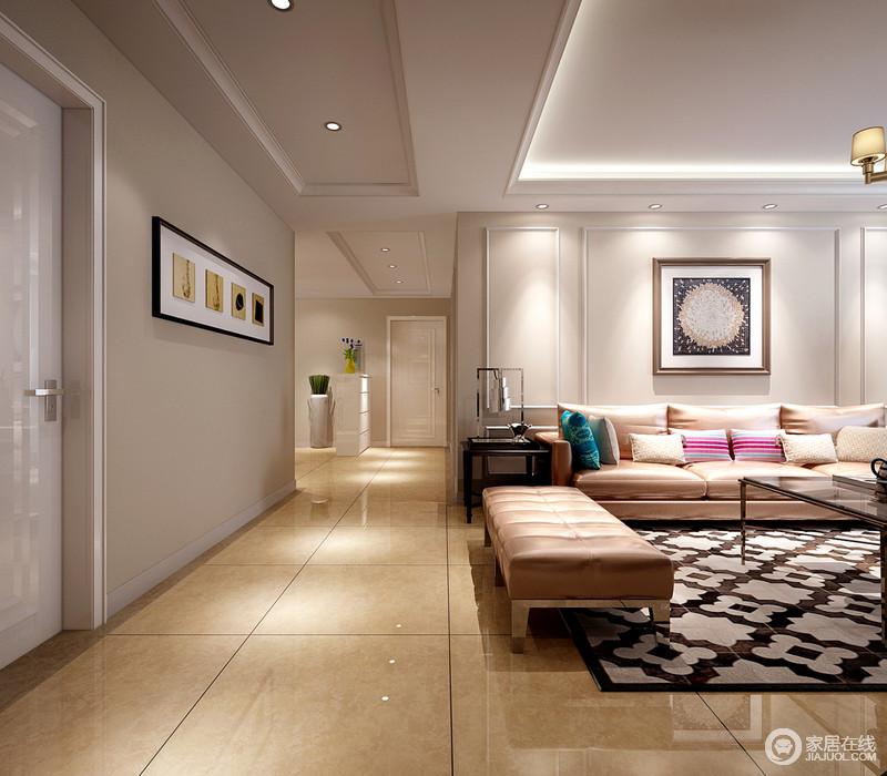客厅与走廊不仅因为动线自然分区,再加上吊顶的结构变化,明确了空间区域性;驼色漆粉刷的墙面因为一副简画让走廊简约大气;而实木线将沙发背景墙几何化,一副墨蓝色抽象画与柔棕色皮沙发在彩色靠垫、棕白色花卉地毯的装饰下,呈色彩和趣,柔和闲雅。