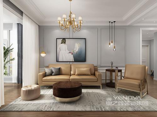 客厅的主基调以灰白为主,渲染了一份简单和素雅;但是,经过设计师和主人的协同,整个家更多了份现代的轻奢感,从灯饰、沙发和软装,都透露着主人对艺术的欣赏。
