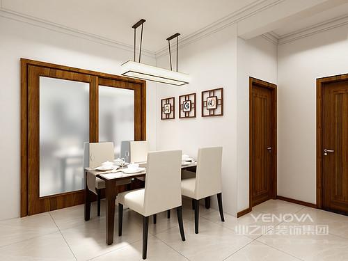 餐厅相对而言比较简单,因为不能抢了客厅的风采,白色的墙面上一排中式装饰就足以丰富了空间,吊灯在地砖上的映射让空间的亮度上升了好几个档次。