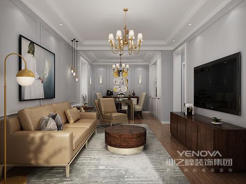 客厅深灰色的基调,以冷调让主人在回到家的时候便能卸下疲倦;棕黄色的沙发和灰青色地毯搭配,足显主人的品味,酒红色坐墩、黄色落地灯无疑给主人闲暇时光一份惬意。
