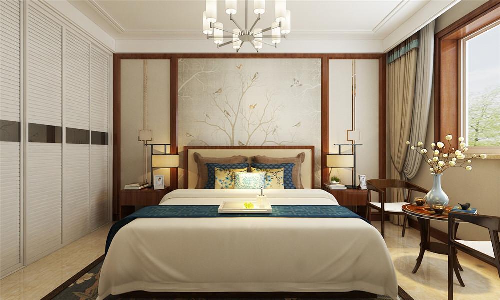床头背景墙的装饰简洁素雅。