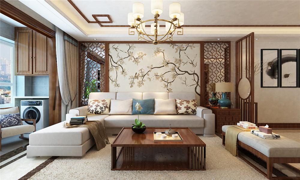 中式背景墙和白色沙发的完美结合,儒雅大方。