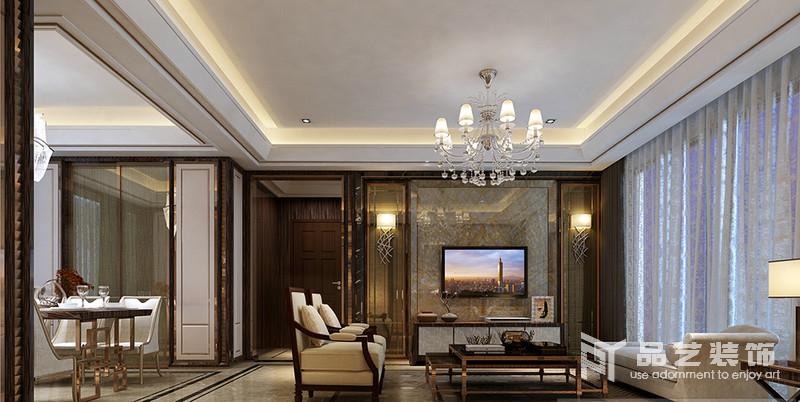 東部現代城四居室-客廳電視背景墻