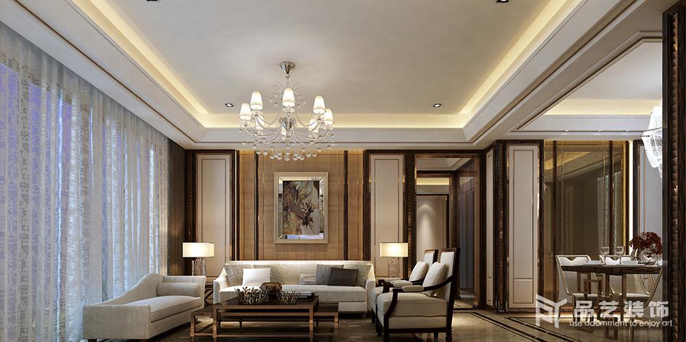 東部現代城四居室-客廳沙發背景墻