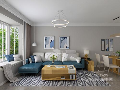 客厅以浅灰色的漆粉刷墙面与灰色地砖形成反差,蓝色抽象挂画悬挂在客餐区,与宝蓝色沙发、白色靠垫表达了一种色彩艺术;实木家具简洁的设计与之组合,构成了简约不凡。