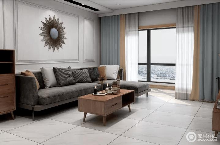 客厅空间为浅色调,因此在家具的选择和软装问题上尤为下功夫,原木和石材的双重使用,极大保证了室内的明亮度的同时,又为整个空间带来温暖的气质。