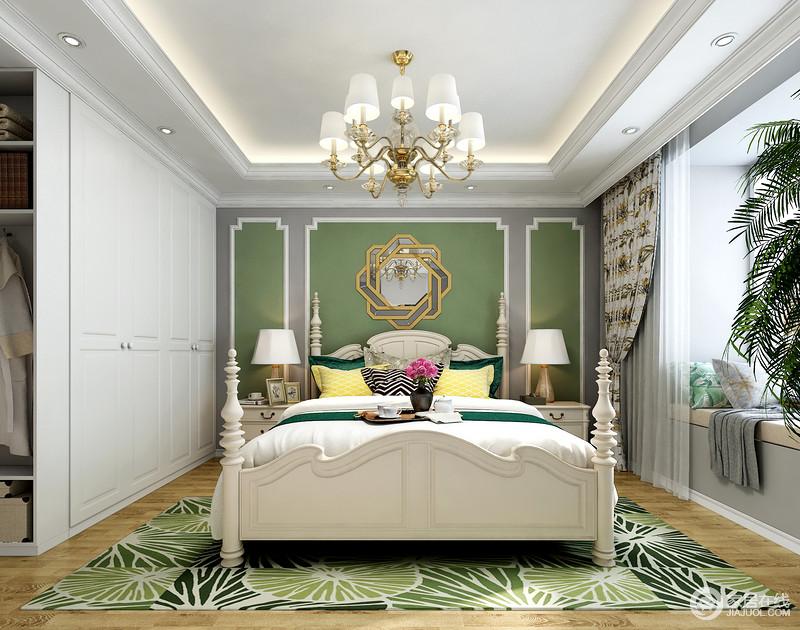 空间采用绿色的背景墙和其他白色元素形成了鲜明的对比,回字造型吊顶丰富了空间层次感,让空间更加生动。