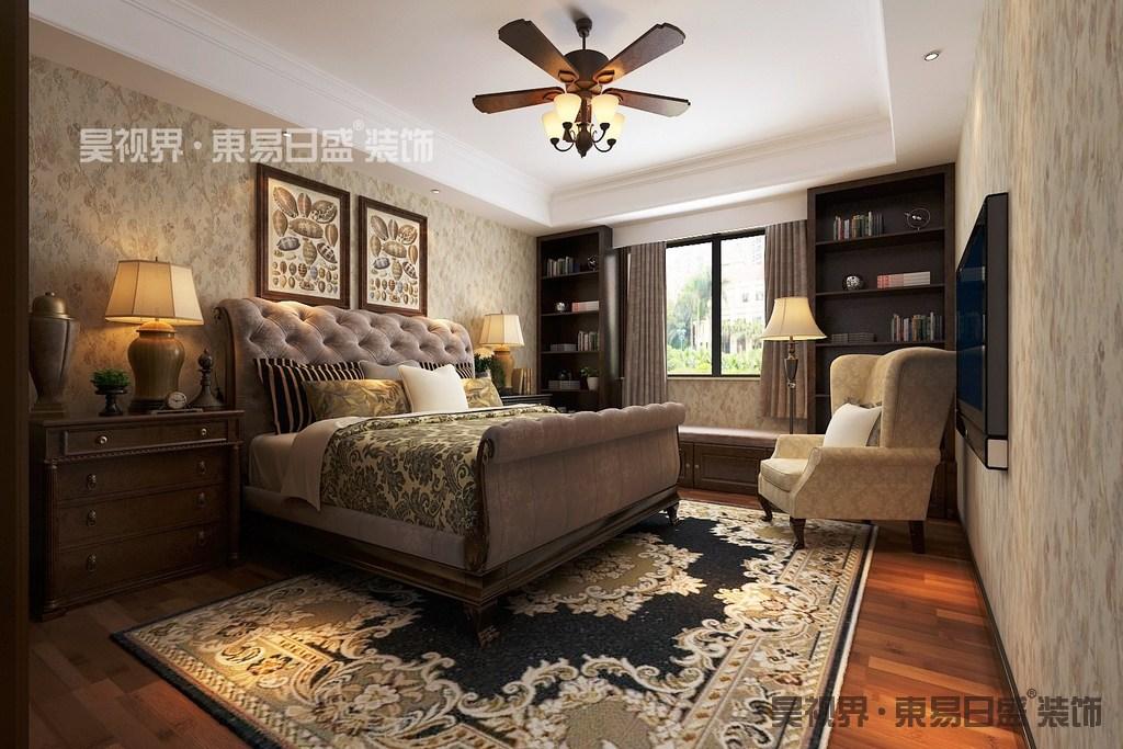 绚烂而华美的印花元素,从墙面、床品到地面上,使卧室在恬静舒适里夹杂着斑斓的端庄华美;自然的返璞归真,洋溢着愉悦轻快的腔调,制造空间的有氧生活,让休憩轻松舒适;飘窗结合着对称书架,合理利用空间增加实用功能。