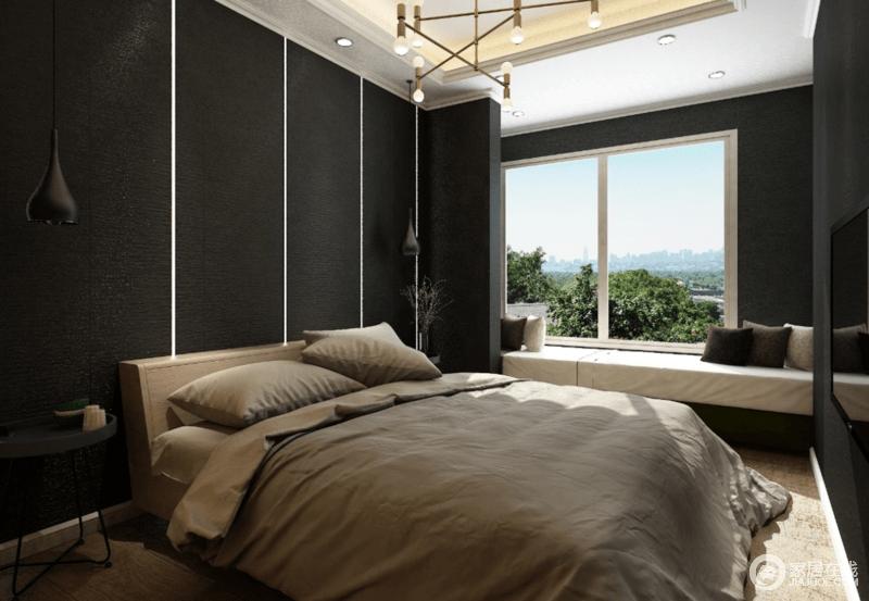 卧室以线条勾勒背景墙,让黑色壁纸的庄重营造一种沉稳感,并与白色吊顶呈对比美学;铁艺吊灯悬挂在两侧,把那个与黑檀木圆几延续着工业艺术,电视嵌入墙体丝毫不影响空间的现代感,却尽显利落;驼色床品的朴素,与白色简约的飘窗,带来一种温馨,让你可以享受阳光佛面的暖意。